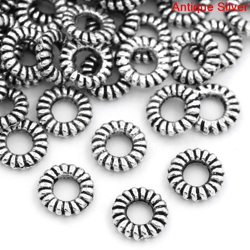 DoreenBeads New Zinc Metal Alloy Closed Soldered Jump Rings Jewelry Round Silver Color Stripe Pattern 5.0mm( 2/8