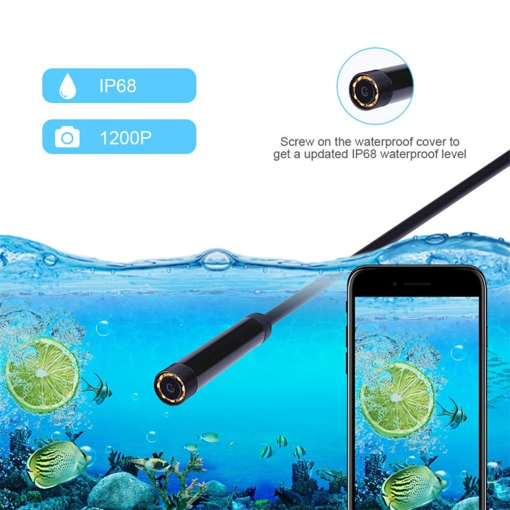 HTB1GQ LwkSWBuNjSszdq6zeSpXaQ WIFI Endoscope Camera HD 1200P 1-10M Mini Waterproof Hard Wire Wireless 8mm 8 LED Borescope Camera For Android PC IOS Endoscope
