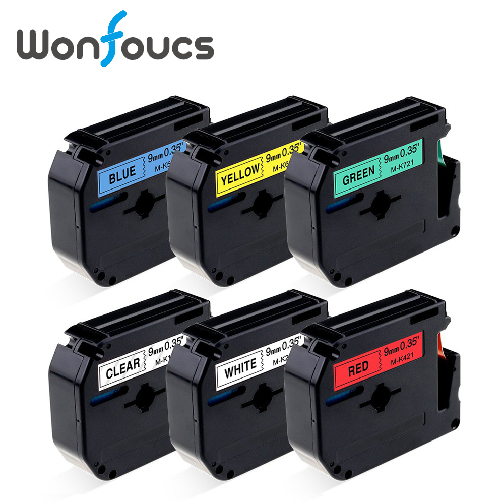 7 Colors Compatible 9mm Brother P-Touch M Tapes MK221 M-K221 MK-121 M-K421 Label Ribbons For Printer Typewriter PT-80 PT-1007 Colors Compatible 9mm Brother P-Touch M Tapes MK221 M-K221 MK-121 M-K421 Label Ribbons For Printer Typewriter PT-80 PT-100