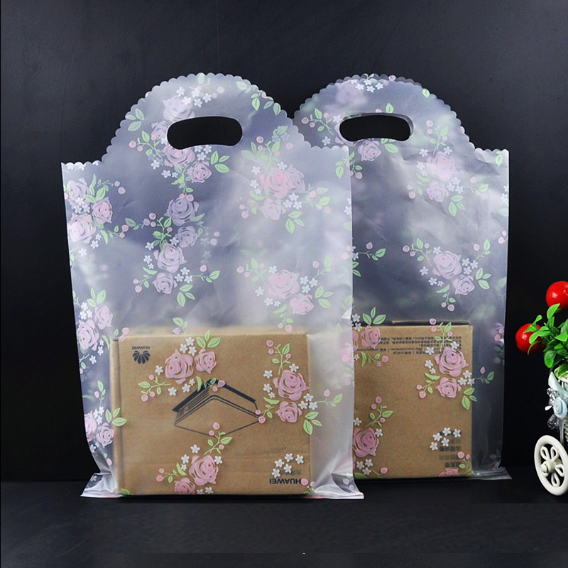 Plastic Gift Bags White Lace Flowers 50pcs/lot 25x40cm Boutique Shopping Clothing Packaging Plastic Gift Bag With Handle H0455
