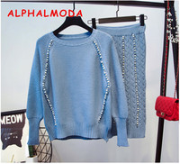 ALPHALMODA 2018 Autumn New Style Women's Sweater Skirt Sets Beaded Trim Long Sleeved Jumpers + Pencil Beaded Knit Skirt Suits