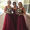 Honey Qiao Floor Length Burgundy Lace Bridesmaid Dresses 2017 Square Neck Applique Beaded Tulle Bridesmaid Gowns Cheap