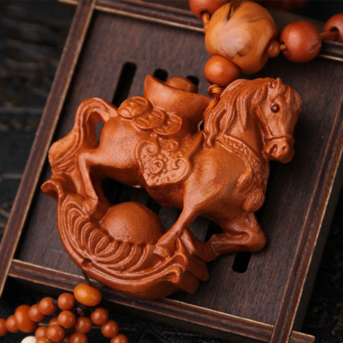 Wealth Horse 3D Wood Carved Chinese Feng Shui Kallaite Amber Beads Car Pendant