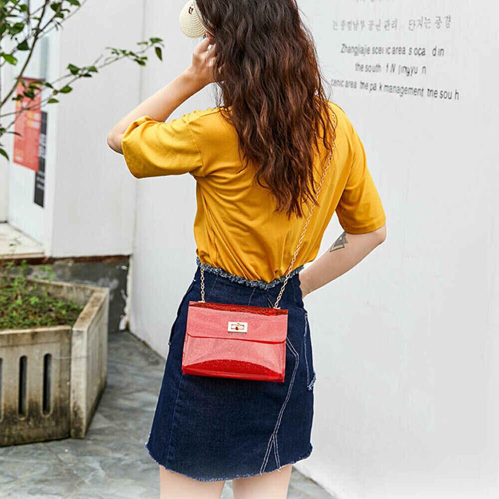 נשים של אופנה PVC ברור שקוף כתף תיק ג 'לי ממתקי קיץ חוף תיק שליח Tote ארנק תיק
