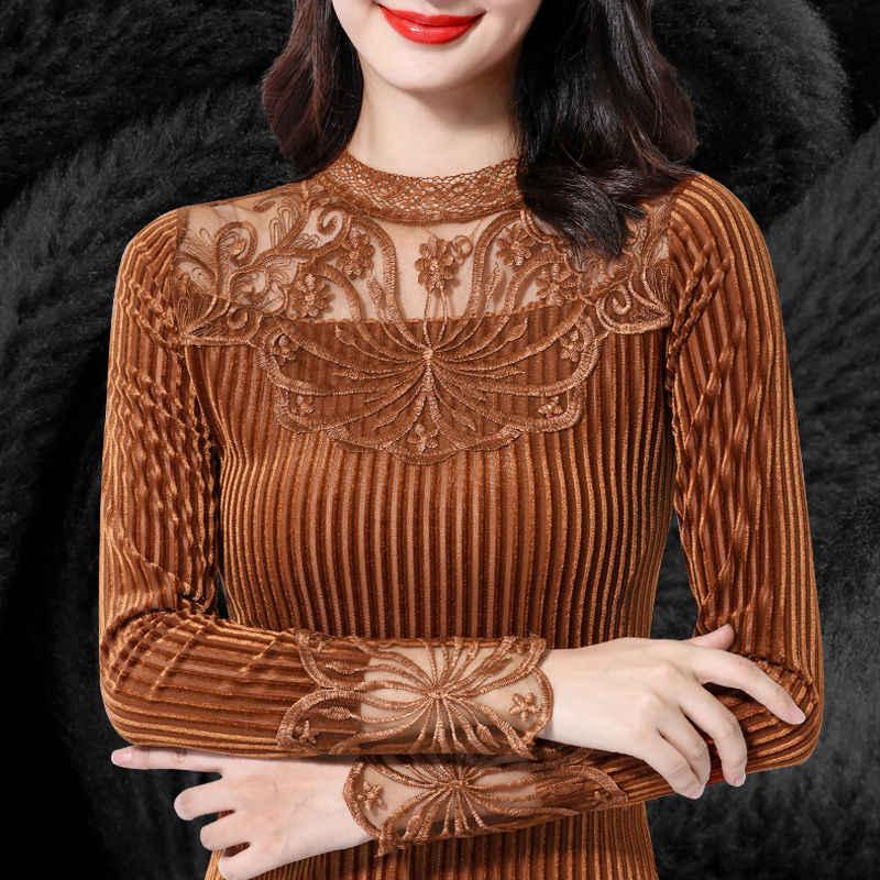 Fashion Women Blouse 2019 Autumn Winter Shiny Striped Velvet Women's Shirts Elegant Long Sleeve Thick Warm Ladies Tops Camisas