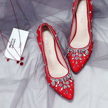 Wedding Shoes Women Pumps New Crystal Bridal Heel Pregnant Female High Heel Red White Lace Elegant Higher Quality Shoes