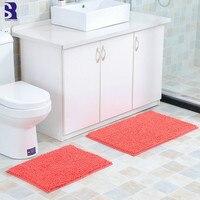 SunnyRain 2 Piece Chenille Bathroom Rug Set Bath Mat Anti slip Super Absorb Dry Shag Rug Slip Resistance Kitchen Rugs Set