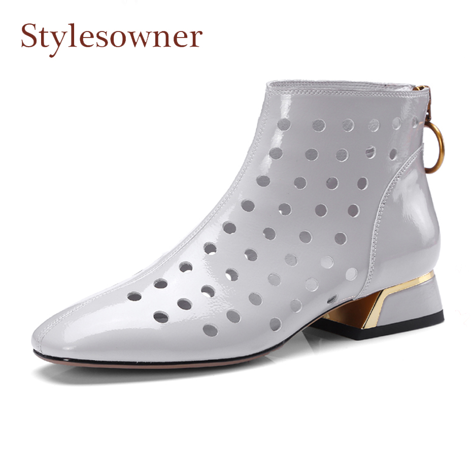 Stylesowner spring summer hollow out women shoes solid color genuine leather back big round ring zipper square toel short boots punk style solid color hollow out ring for women