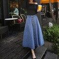 2016 весной и летом моде джинсовые юбки однобортный тонкая талия была поставить на большой бюст слово юбка