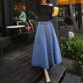 2016 spring and summer fashion denim skirt single breasted slim waist was put on a large bust A word skirt