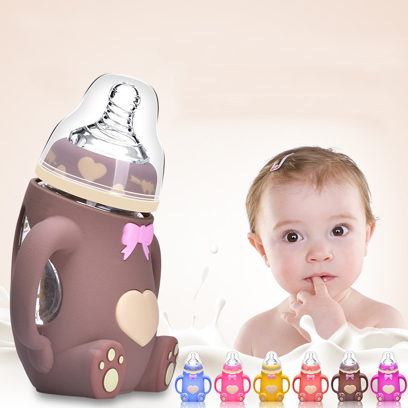 Hot Selling Baby Feeding Bottle 240ML Bear Design Arc Type Water Feeder with Silicone Nipple