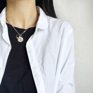 Image 5 - 925 ayar gümüş portre insan yüzü para zirkon kolye kolye moda kişilik DIY sikke kolye kadınlar takı için