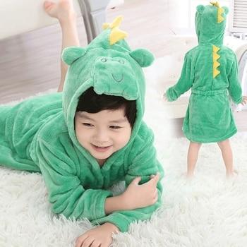 c0609c2f58 Albornoz de los niños para niños niñas franela trajes de pijamas de bebé de  dibujos animados de niños con capucha suave traje de baño ropa de casa ropa  de ...