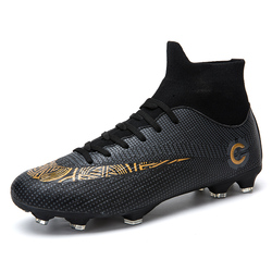 ZHENZU New Men Black Soccer Shoes High Ankle Football Boots Soccer Cleats Socks Sneakers Eu size 39-45 Dropshipping