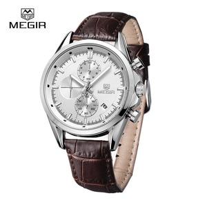 Image 3 - Megir 새로운 패션 군사 가죽 쿼츠 시계 남자 럭셔리 빛나는 크로노 그래프 아날로그 시계 남자 손목 시계 무료 배송 5005