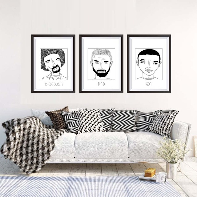Black White Member Of Family Portrait Painting Canvas Art Print