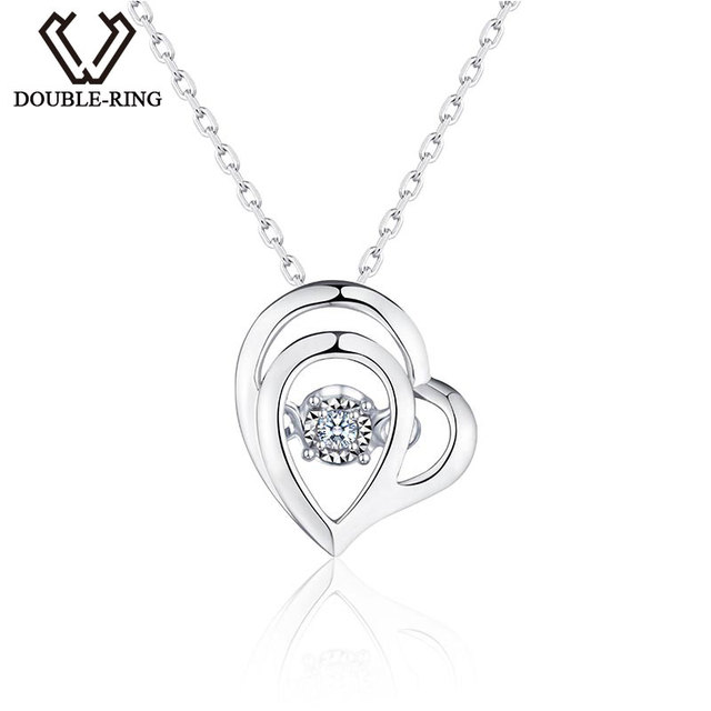 DOUBLE RING White Gold Heart Pendant Very Good Cut Real Diamond