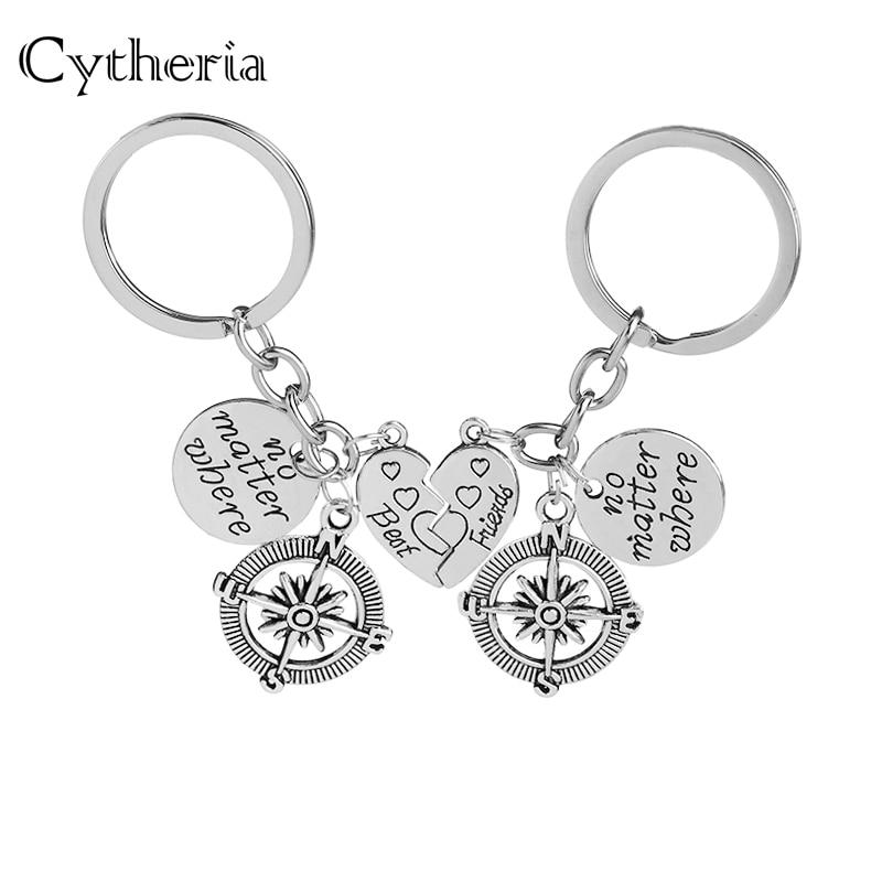 No Matter Where Best Friend Forever Key Chains Set Splice Heart Keychains Set Key Ring Car Key Holder Gift For Bestfriend 2