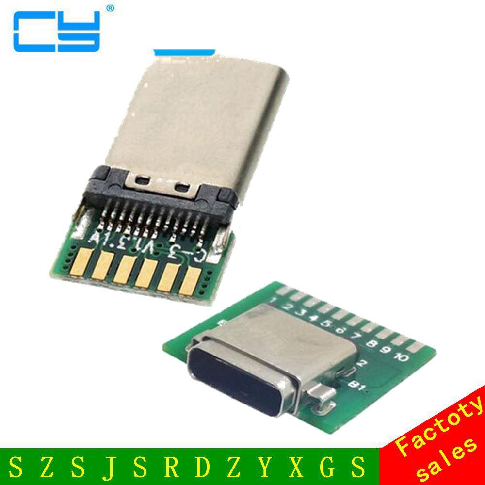 DIY 24pin USB-C USB 3.1 tyyppi C uros & naaras Plug & Socket -liitäntä SMT-tyyppi PC-kortilla, ilmainen toimitus Kiinan postitse