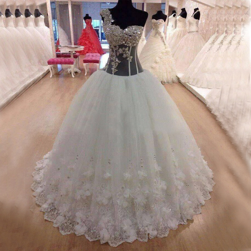 Sexy See Through Lace Ball Gowns Wedding Dresses 2019 Crystal One Shoulder Corset Real Photos Bridal Gowns for Women Wear
