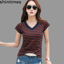 Camisas Mujer 2018 Striped Tshirt V-Neck T Shirt Women Printed T-Shirt Tee Femme Summer Tops Slim Casual Camiseta Feminina