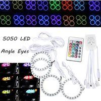 4x Lampa Błyskowa LED RGB 80 MM 5050 SMD Angel Eyes Halo Pierścień światła Zdalnego Sterowania 12 V Żarówki Reflektorów Samochodu Lampa Przednia Dla BMW