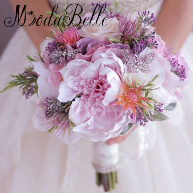 Невест Buque Де Noiva Искусственный Ручной Роза Пион Цветы Розовый Фиолетовый Свадебный Букет Бабочка Брошь Свадебный Букет