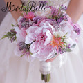 Brides Buque De Noiva Artificial Handmade Rose Peony Flowers Pink Purple Wedding Bouquet Butterfly Brooch Bridal Bouquet