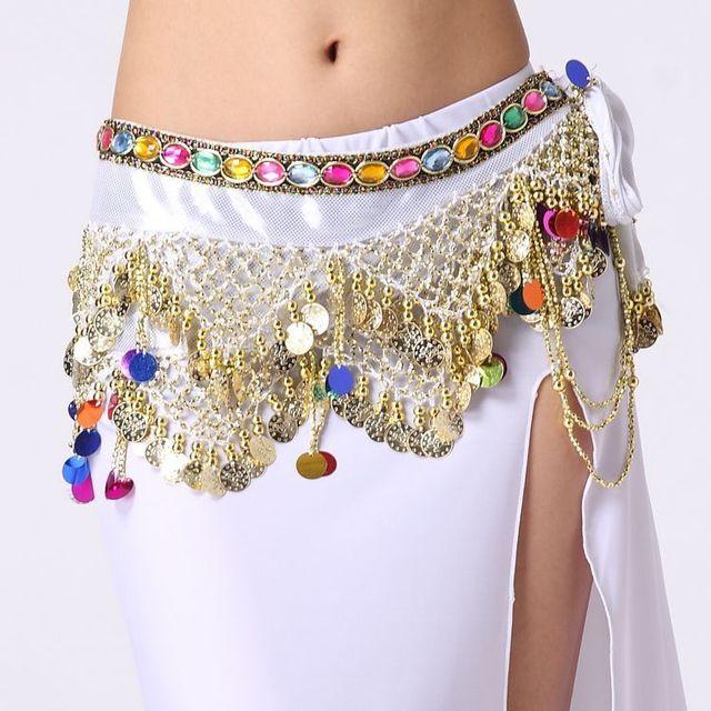 5b8b07007 Mulheres dança Do Ventre lenço de quadril dança cigana saia cintos de  Diamantes cor de