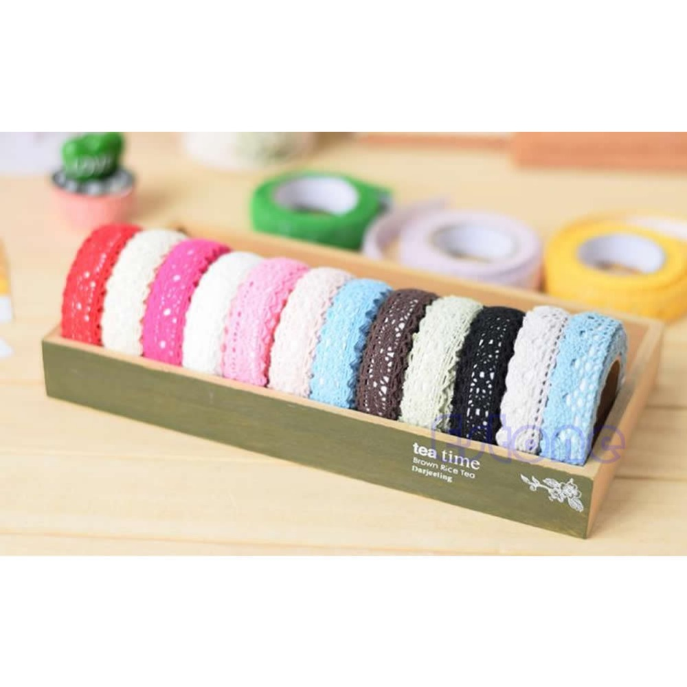 Double sided craft tape - 1pcs Lace Pure Cotton Diy Tape Double Sided Adhesive Deco Craft Scrapbook Card Making Decoration