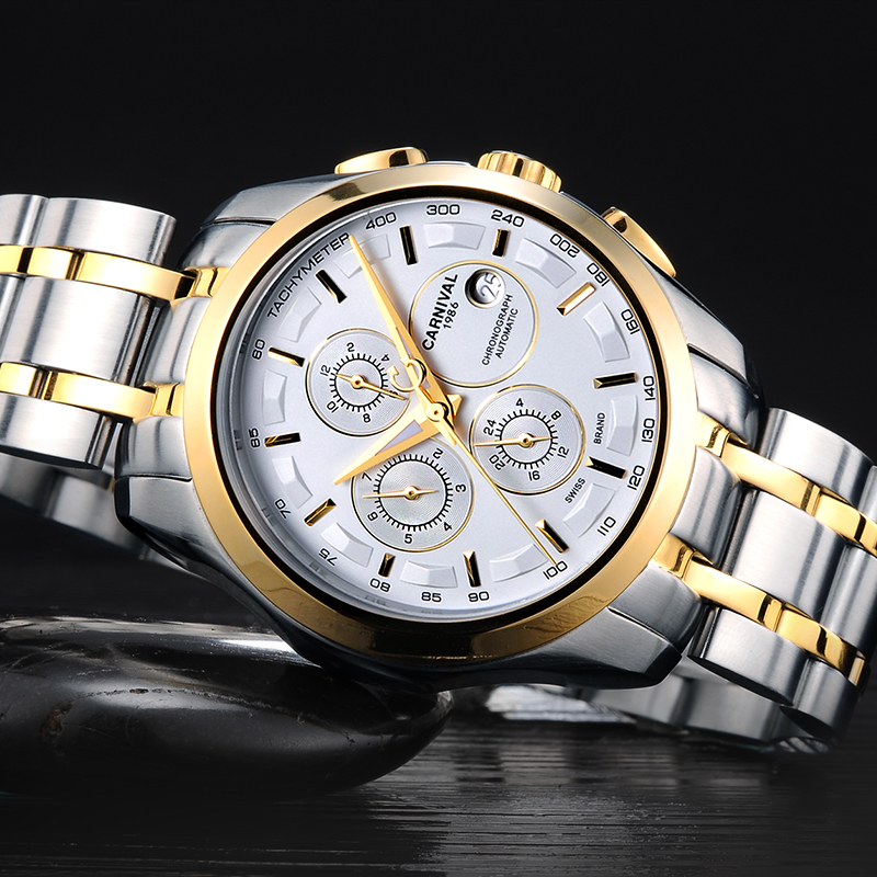 Classic Carnival Mechanical Watch Men Gold Stainless steel Multifunctional Water Resistant  Men