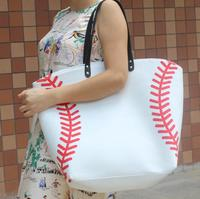 Wholesale New Yellow Softball White Baseball Jewelry Packaging Blanks Kids Cotton Canvas Sports Bags Baseball Softball