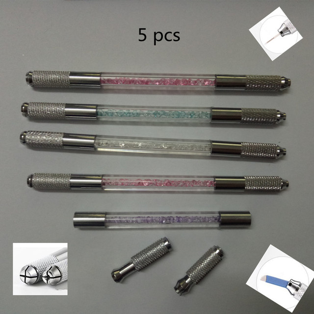 5 Pcs Double Heads Microblading Pen Tattoo Machine For Permanent Makeup Eyebrow Tattoo Manual Pen Needle Blade