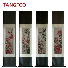 Tangfoo Three-dimensional Silk Brocade Painting Lotus Flower Diagram Drawing Scroll With Chinese Characteristics Home Decoration