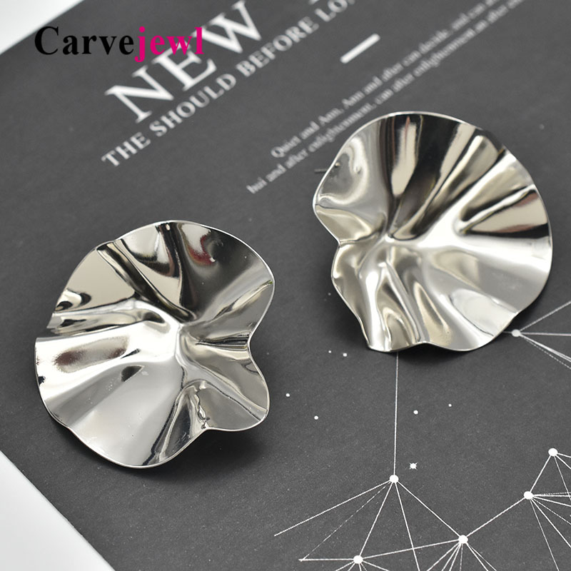 Carvejewl big stud earrings unique lovely incurved stamping for women jewelry girl gift romantic European