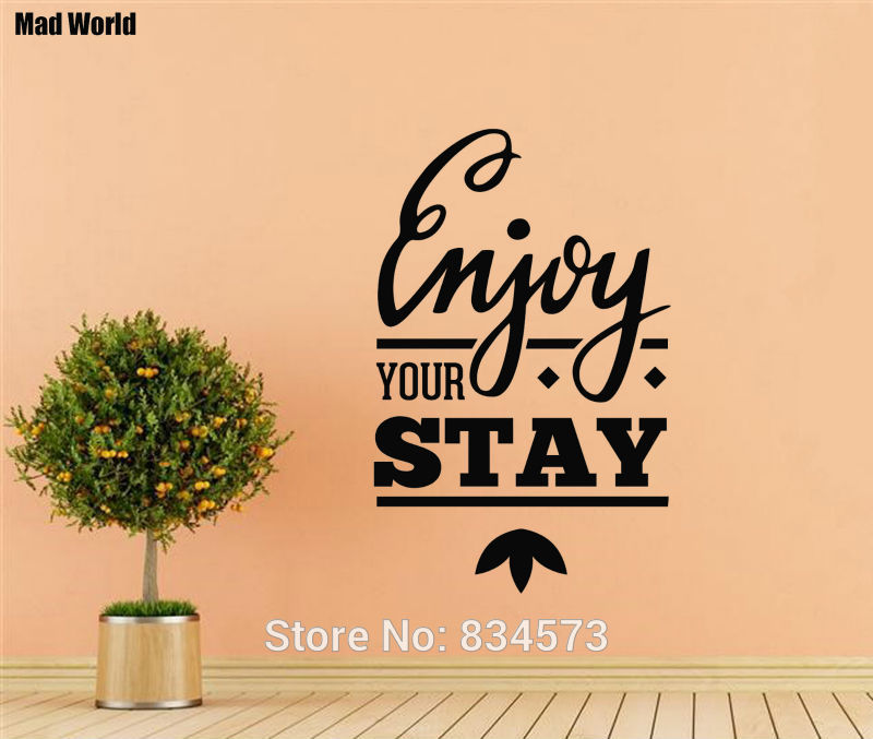Mad World Enjoy Stay Home Hotel Quote Wall Art Stickers Wall Decal ...