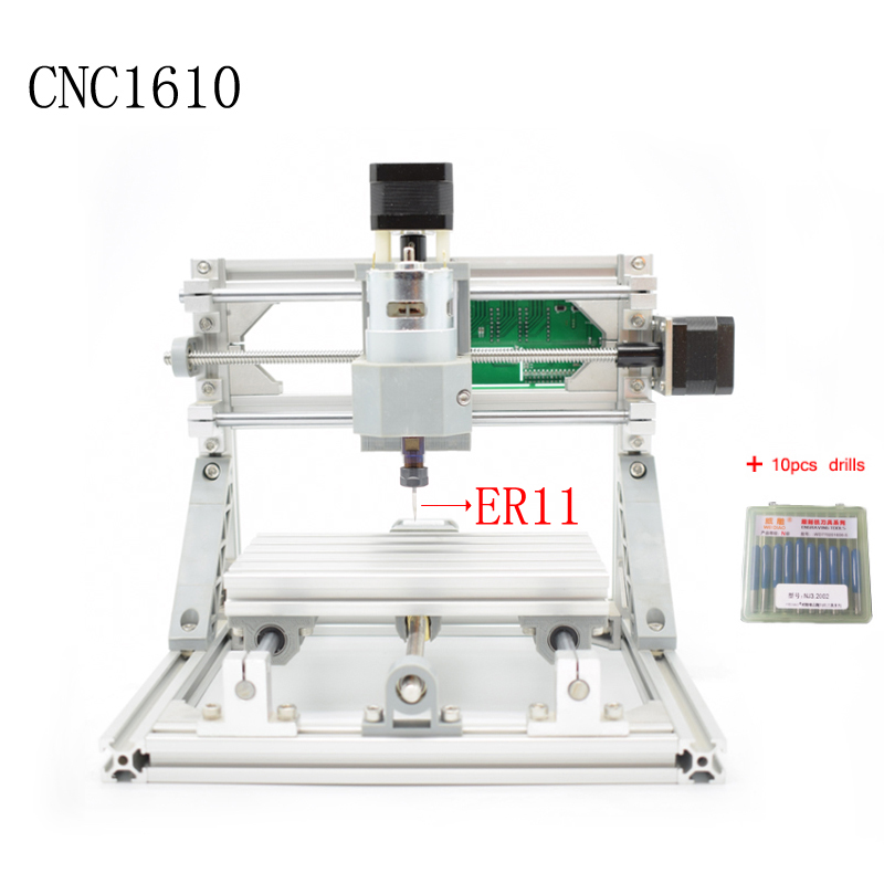 CNC 1610 ER11 laser GRBL control Diy mini CNC machine,working area 16x10x4.5cm,3 Axis pcb pvc Milling machine,wood router 1610 mini cnc machine working area 16x10x3cm 3 axis pcb milling machine wood router cnc router for engraving machine