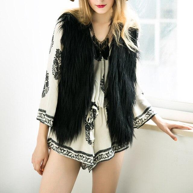 2016 Ladies Vest Autumn and Winter Warm Sleeveless Fake Fur V-neck Short Waistcoat Design Outwear Vest Solid Female Jacket