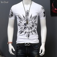 Free shipping Large plus size fat big male clothing 8xl cotton o neck short sleeve t shirt print Eagle pack of 2 pcs