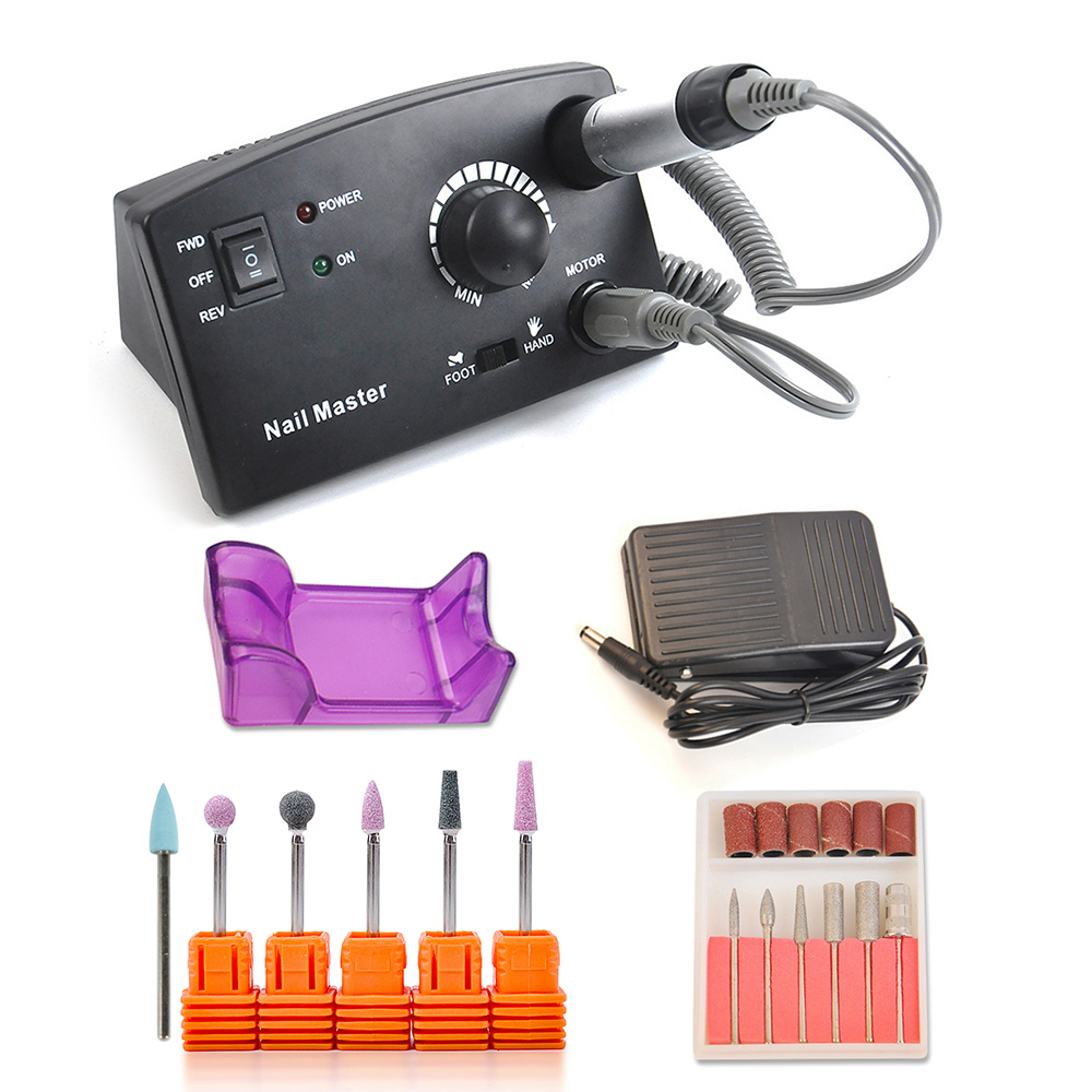 Electric Nail Drill Machine 25000RPM Pedicure Manicure Nail Polishing Kit Nail Art File Drill Cutter Milling Grinding Tools Set excellet value 1 pc blue medium 3 32 white ceramic nail drill bit manicure professional electric manicure cutter nail tools