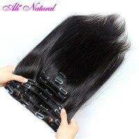 Ali Natural Malaysian Straight Hair Clip in Human Hair Extensions Natural Color Non Remy Hair Clip ins 120G 10Pcs/Set