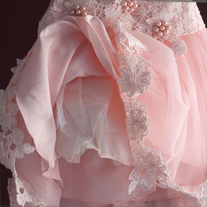 Image 5 - new born baby girl dress pink lace baby wedding party ball gown pearl sleeveless girls christmas clothes vestido infantil 6M 4Y