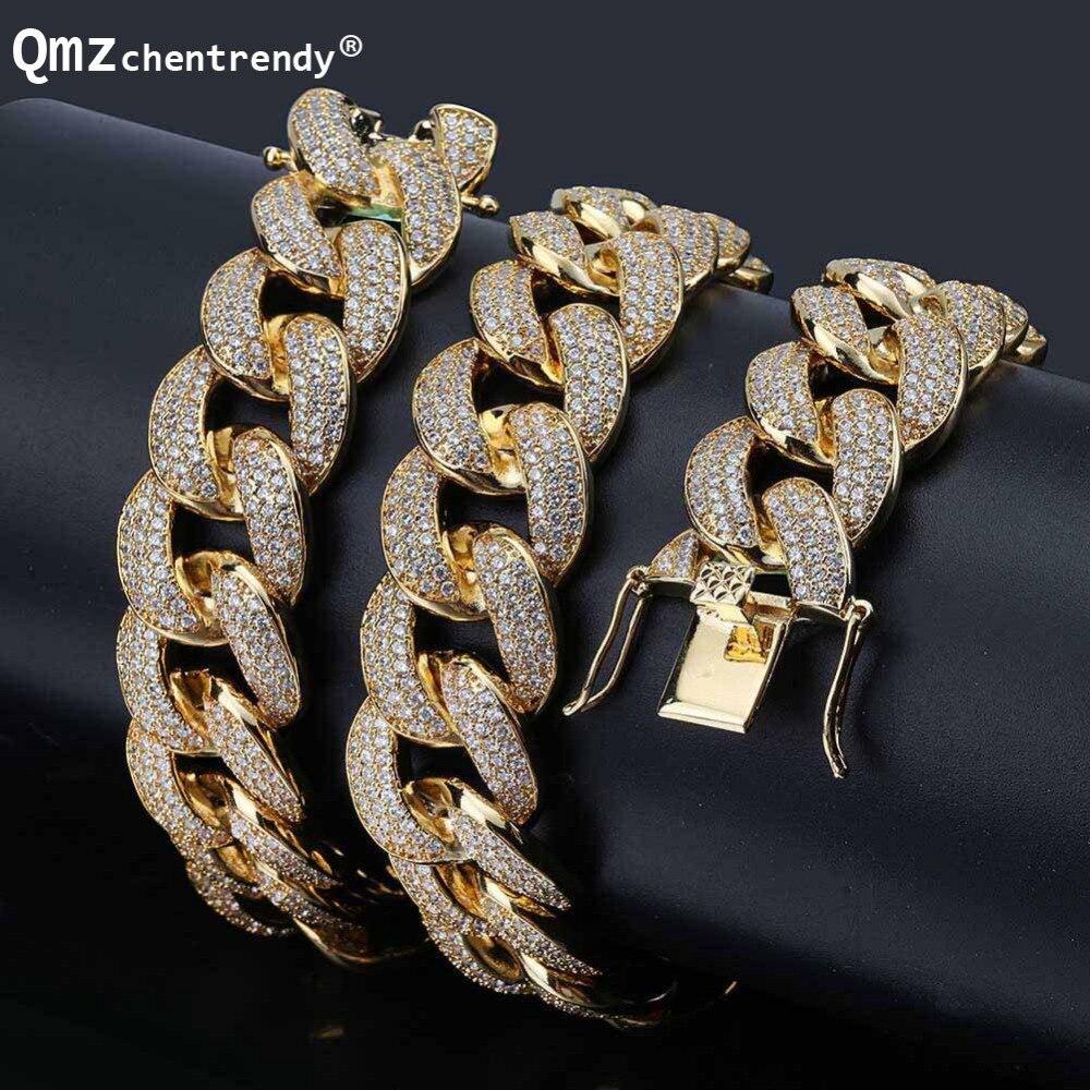 Hip hop hommes Miain gourmette chaîne cubaine collier Bling glacé entièrement Cz collier luxe boîte fermoir chaîne bijoux goutte Shopping 18mm