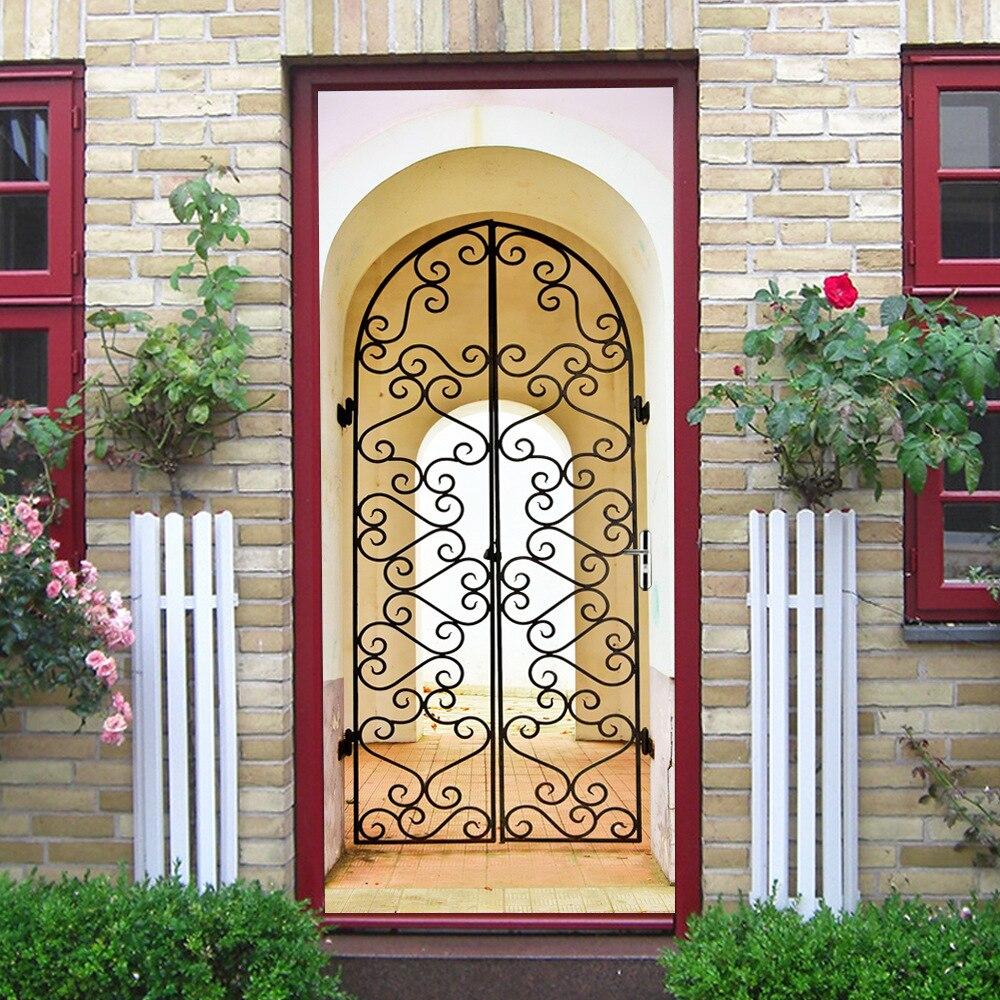 Arabian Wooden Door Imitation Door Stickers For Bedroom Self Adhesive 3D Creative Home Decor Wallpaper DIY Renovation Door Decal