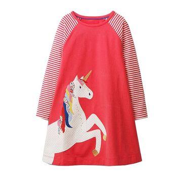 Dziewczynek jednorożec Party sukienki kostiumy dla dzieci jesień ubrania zwierząt aplikacje Princess Dress dzieci tunika koszulka