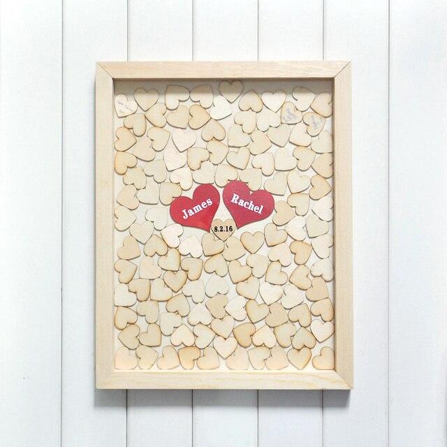 Personalised Wedding Guest Book Alternative Wood Heart Custom Drop Top Guestbook