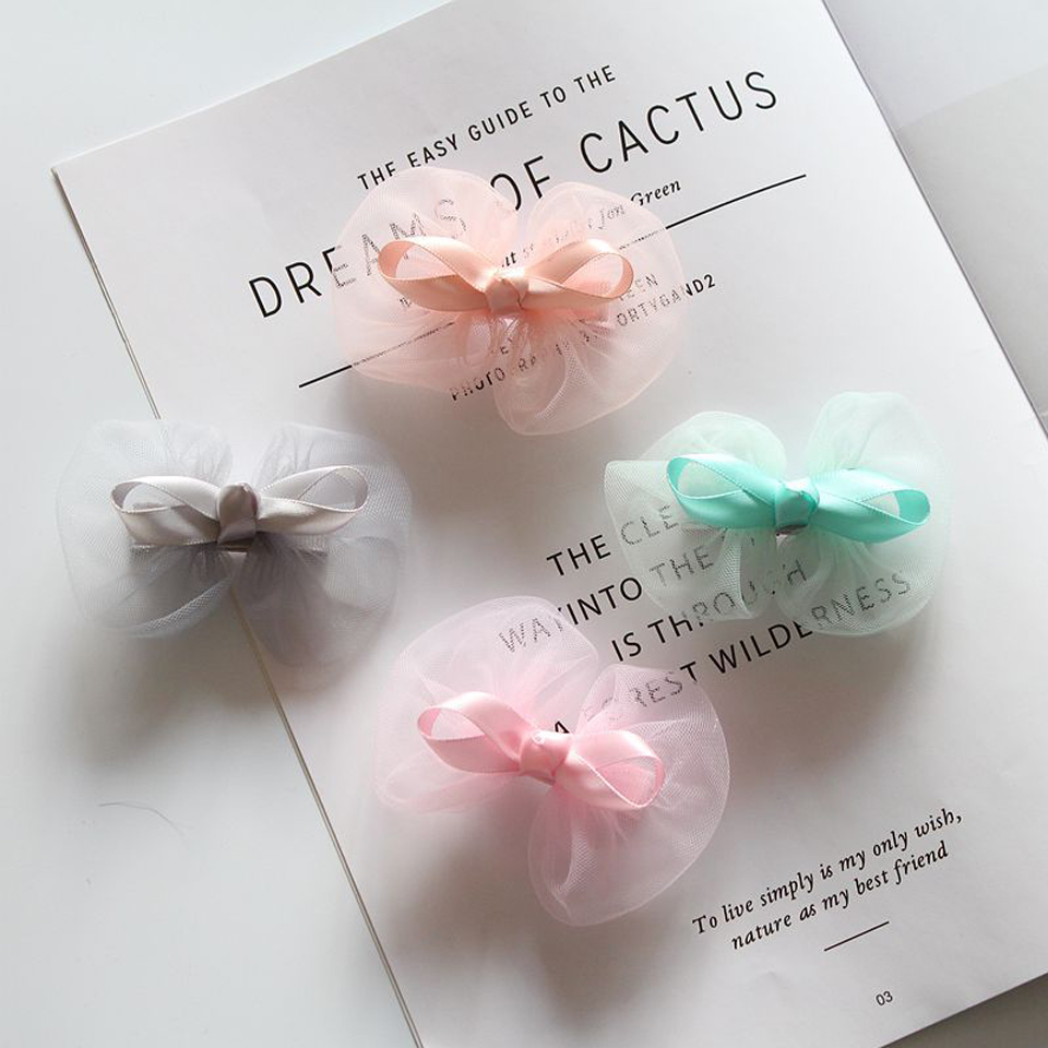 2PCS Hair Clips Newborn Baby Kids Girls Beaded Tulle Head Accessories Hairpin