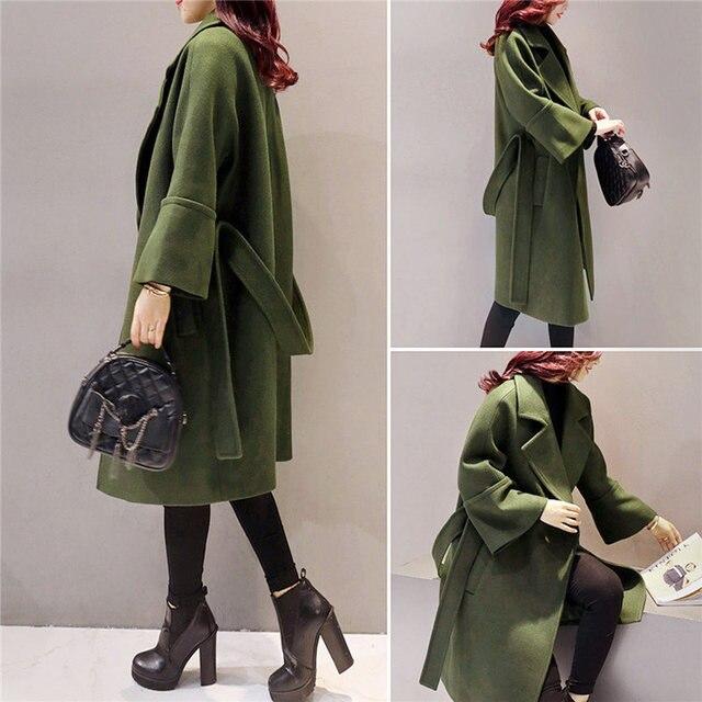 Army Green Woolen Coat Women 2018 Long Parkas Manteau Femme Elegant Winter Coat Women Flare Sleeve Belt Wool Jacket Female C3617 4