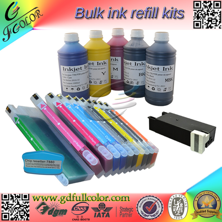 Free shipping  Refillable cartridge and bottle ink  For  7600 9600 Sulimation printing kit