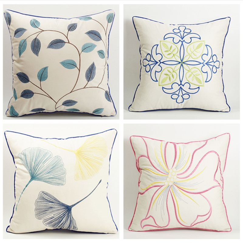 Luxury Cotton Embroidered pillowcase Bed Car Pillows Cushions Cover Home Chair Decorative Sofa Pillow Cover Without Core
